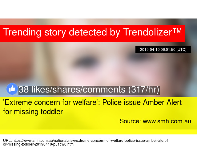 87bf587e3333  Extreme concern for welfare   Police issue Amber Alert for missing toddler  - Stats