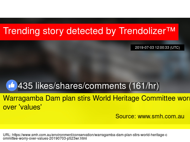 Warragamba Dam plan stirs World Heritage Committee worry