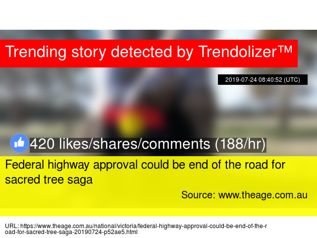 Federal highway approval could be end of the road for sacred tree saga