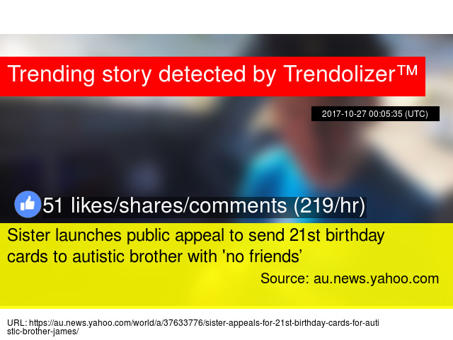 Sister Launches Public Appeal To Send 21st Birthday Cards To